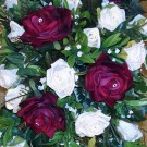 Burgundy & Ivory Rose Shower Bouquet