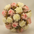 Salmon Pink & White Rose Medium Table Posy