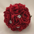 Red Rose & Silver Posy Bouquet