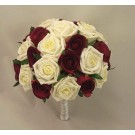 Burgundy & Ivory Rose Table Posy
