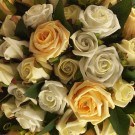 Ivory & Gold Diamante Rose Table Arrangement
