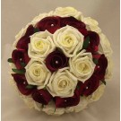 Burgundy & Ivory Rose Diamante Posy Bouquet
