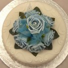 Blue Rose Diamante Organza Cake Topper