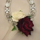 Burgundy & Ivory Rose Horseshoe
