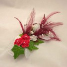 Red Feather & Silver Diamante Hair Comb