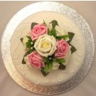 Cream & Pink Rose Luxury Cake Topper