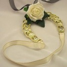 Ivory Rose & Black Ribbon Horseshoe