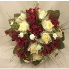 Ivory & Burgundy Rose Stephanotis Posy Bouquet