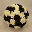 Black & White Rose Posy Bridal Bouquet