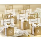 Miniature Gold Chair Favour Box with Heart Charm and Ribbon