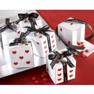 """Lucky in Love"" Dice Favour Boxes with Imprinted Ribbon and Heart Charm"