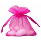 10 Cerise Pink Organza Wedding Favour Bags