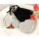 """Love"" Heart-Shaped Compact Mirror in Black Velvet Pouch"
