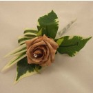 Mocha Rose Diamante Buttonhole