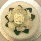 Ivory Rose Diamante Organza Cake Topper