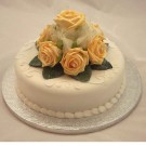 Gold Rose Diamante Organza Cake Topper