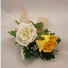 Ivory & Gold Double Rose Buttonhole