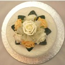 Ivory & Gold Rose Organza Cake Topper