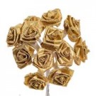 Gold Satin Ribbon Roses