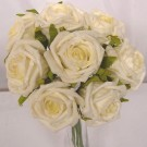 8 Ivory Small Open Roses