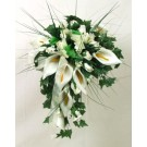 Ivory Cala Lily & Organza Ribbon Shower Bouquet
