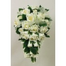 Ivory Rose & Organza Ribbon Shower Bouquet