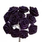 Navy Blue Satin Ribbon Roses
