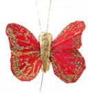 Red & Gold Small Feather Butterflies