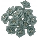 Silver / Grey Diamante Ribbon Roses