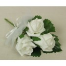 White Triple Rose & Ribbon Corsage
